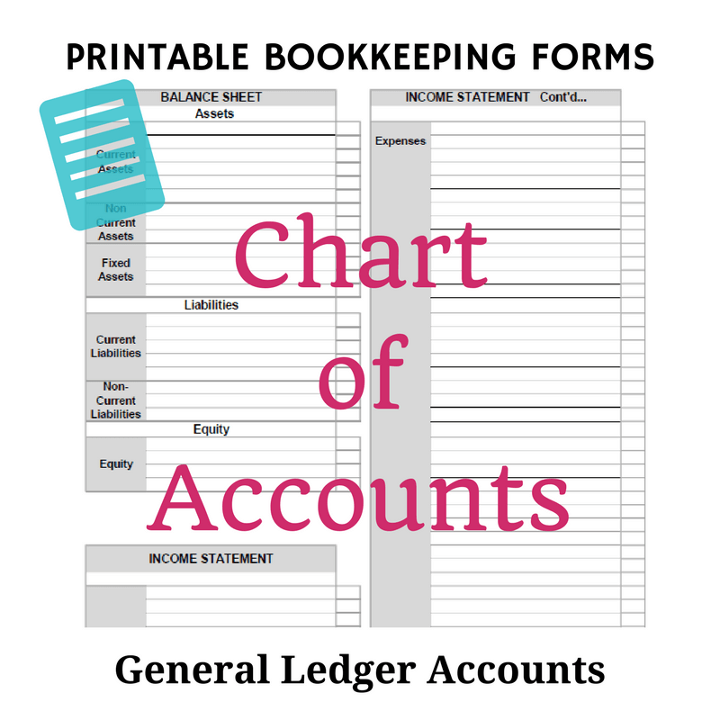 Printable Chart Of Accounts Template  Accounting Ledgers Templates