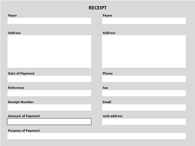 Free Printable Receipt Shaded PDF