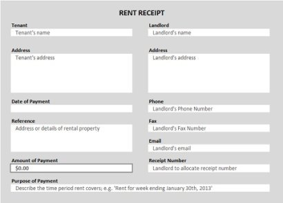 Rent Receipt Excel Template  E Receipts Template