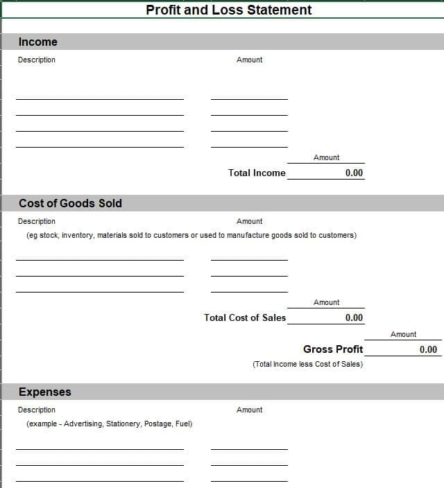 Profit and Loss Statement Excel Template