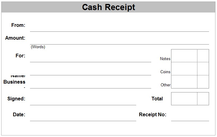 Printable Cash Receipt Template in PDF format