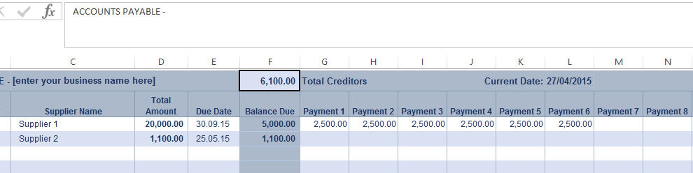 Accounts Payable Ledger Screenshot