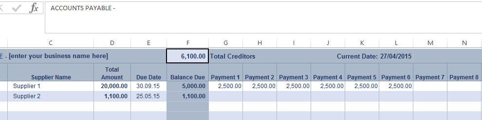Accounts Payable Ledger Screenshot