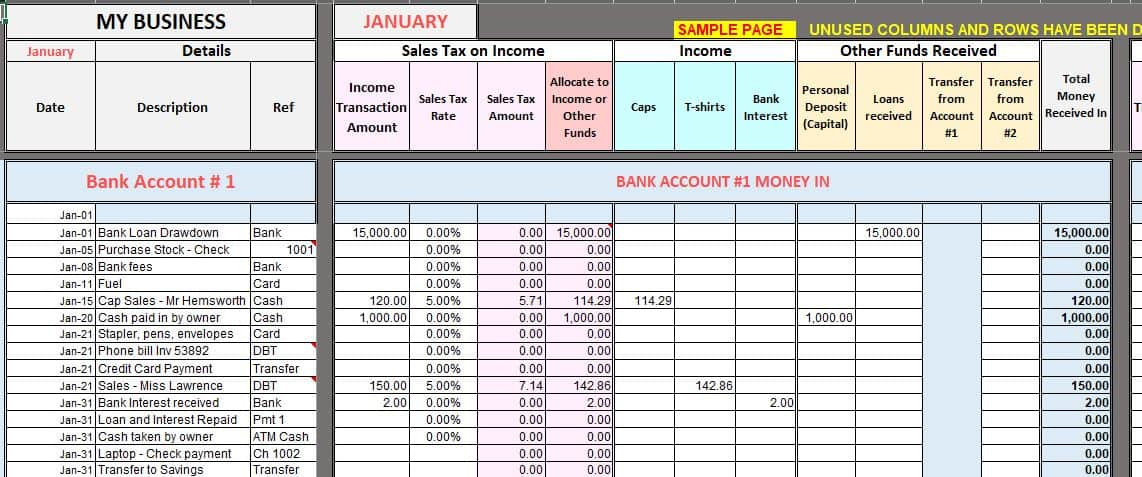 free excel bookkeeping templates