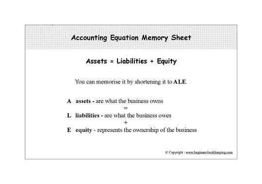 Accounting Equation Memory Cheat Sheet