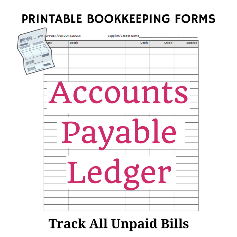 Printable Accounts Payable Ledger Form  Printable Accounting Ledger