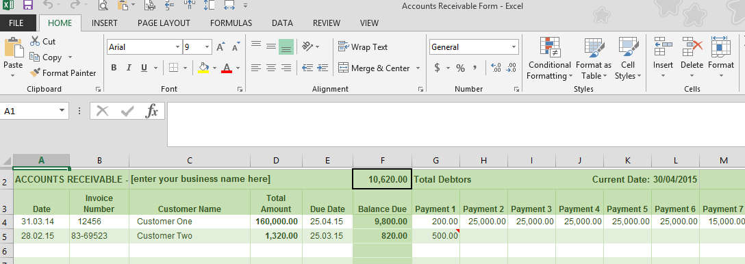 Accounts Receivable Ledger Example  Business Ledger Example