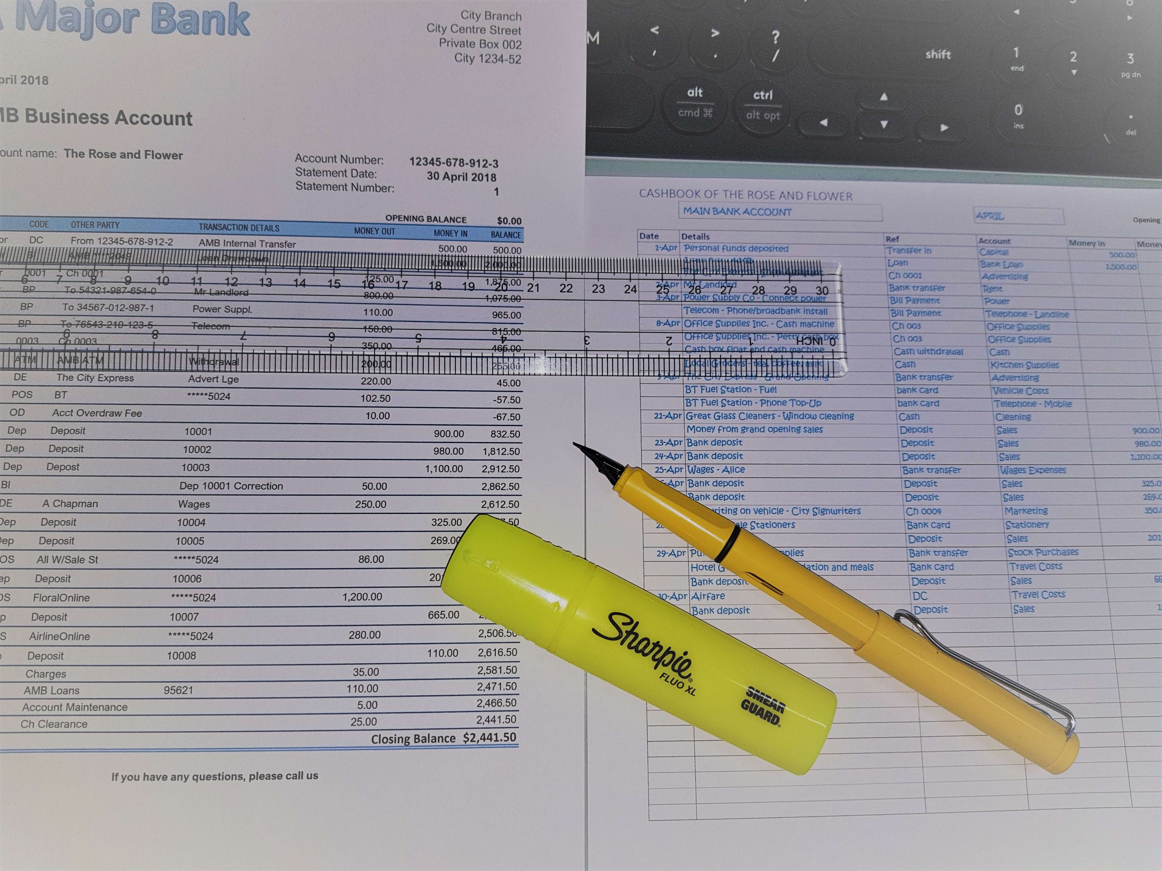 Bank statement and cashbook side by side to match transactions or highlight differences.
