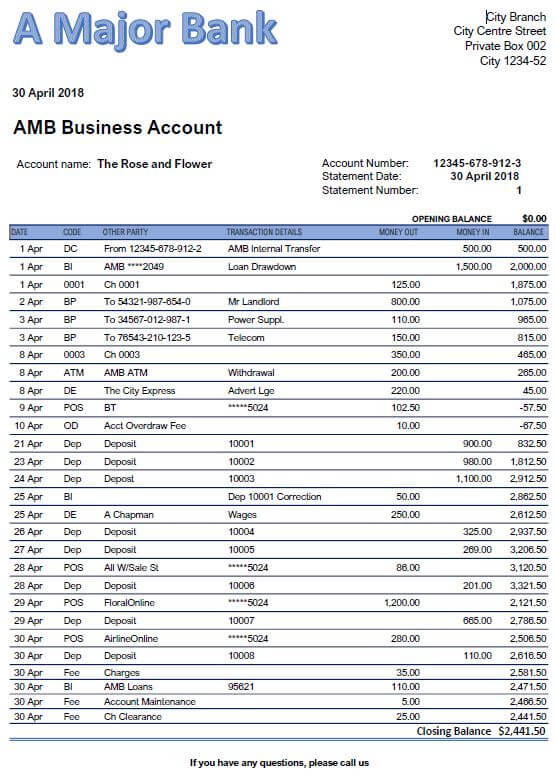 Example of bank statement before it is checked against the cashbook