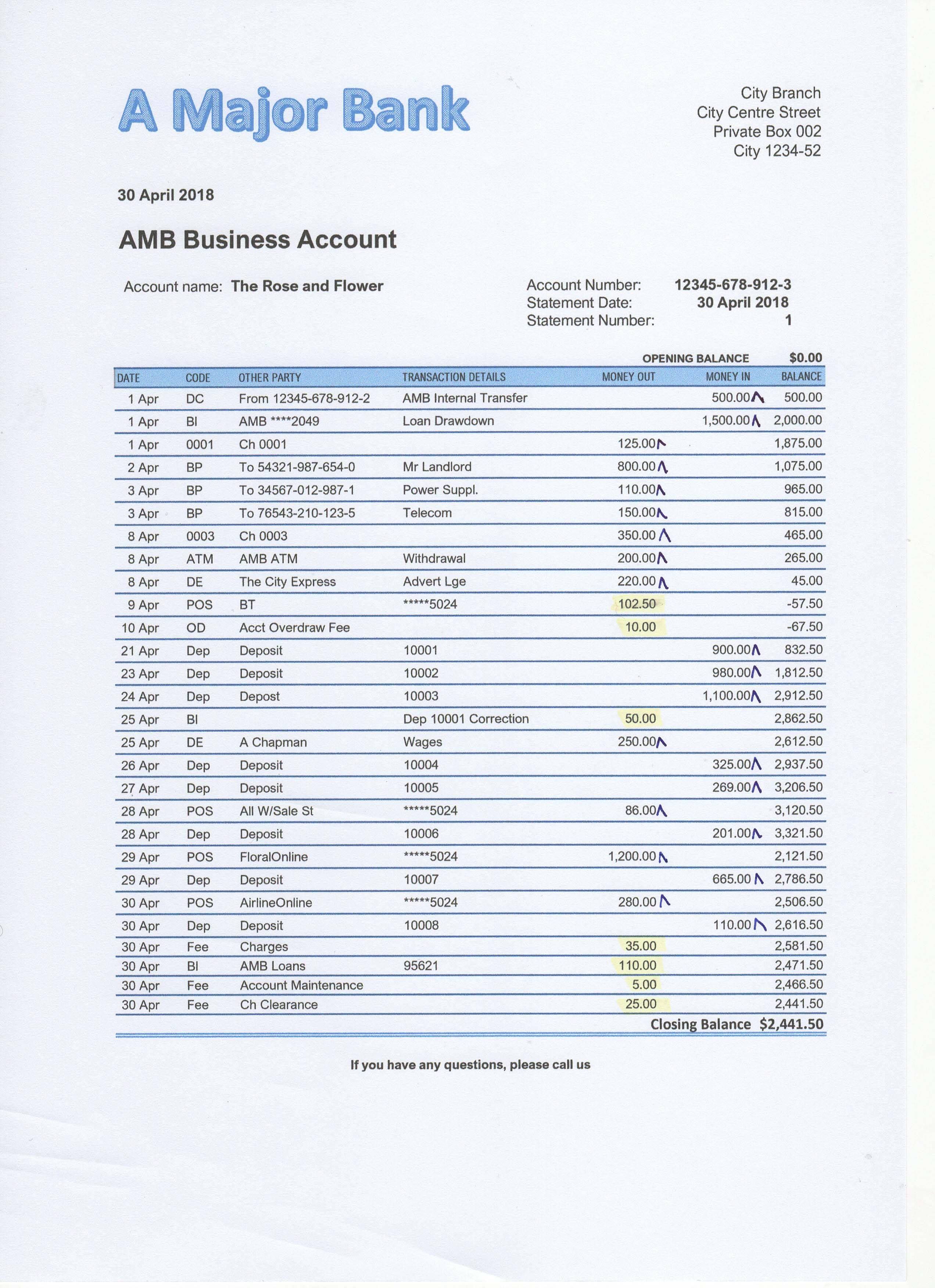 Example of Bank Statement Checked and Highlighted