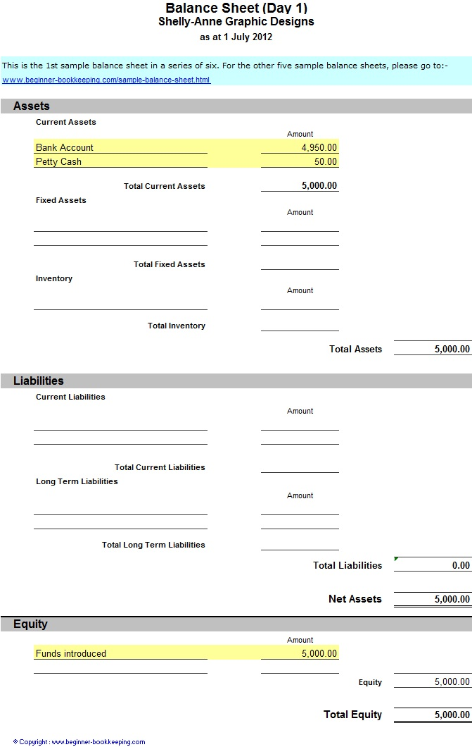 The Business Model  Balance Sheet Statement Format