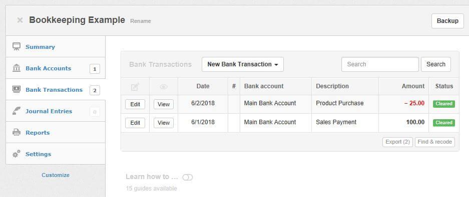 Computerized Bookkeeping Screenshot