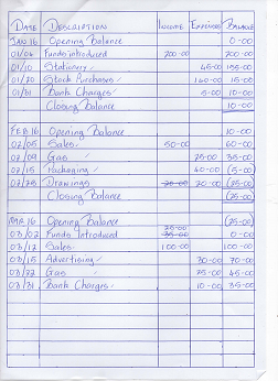 Cashbook format example with transactions entered by hand.