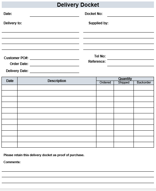 Free Delivery Docket Template