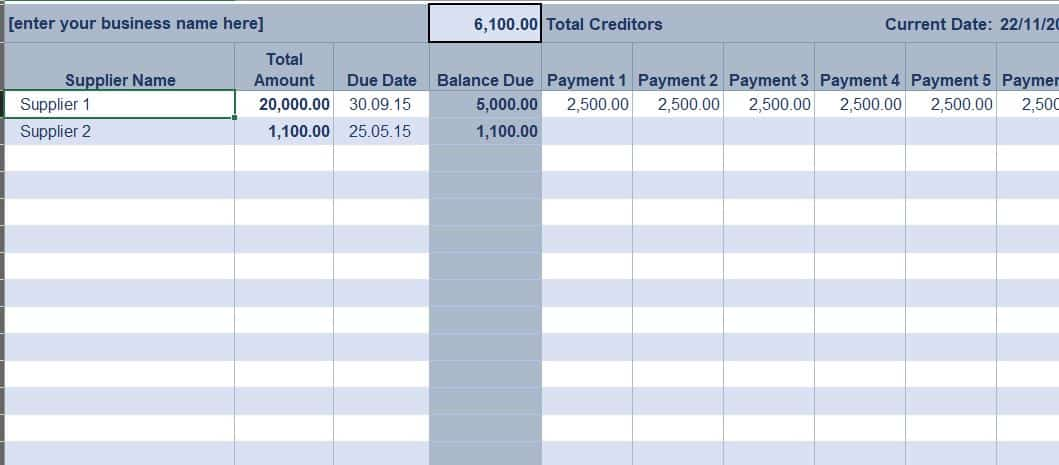 Excel Accounts Payable Ledger