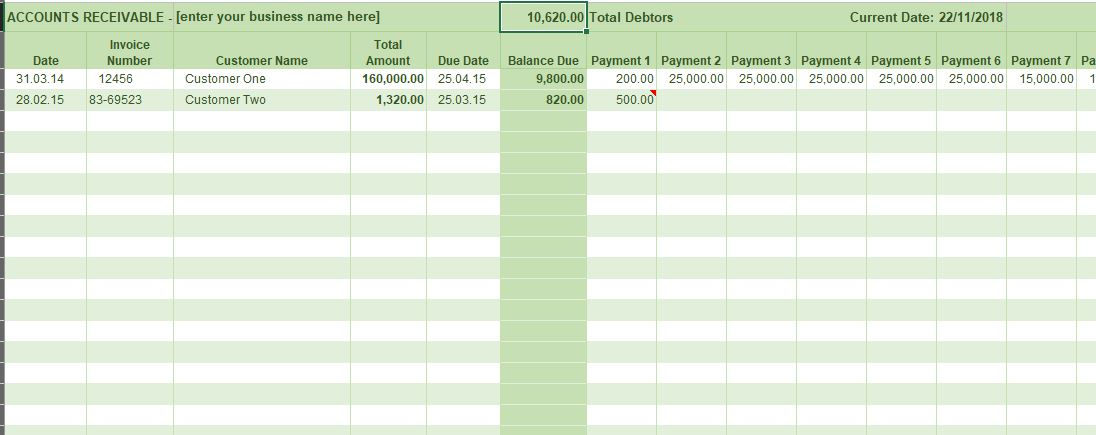 Excel Accounts Receivable Ledger