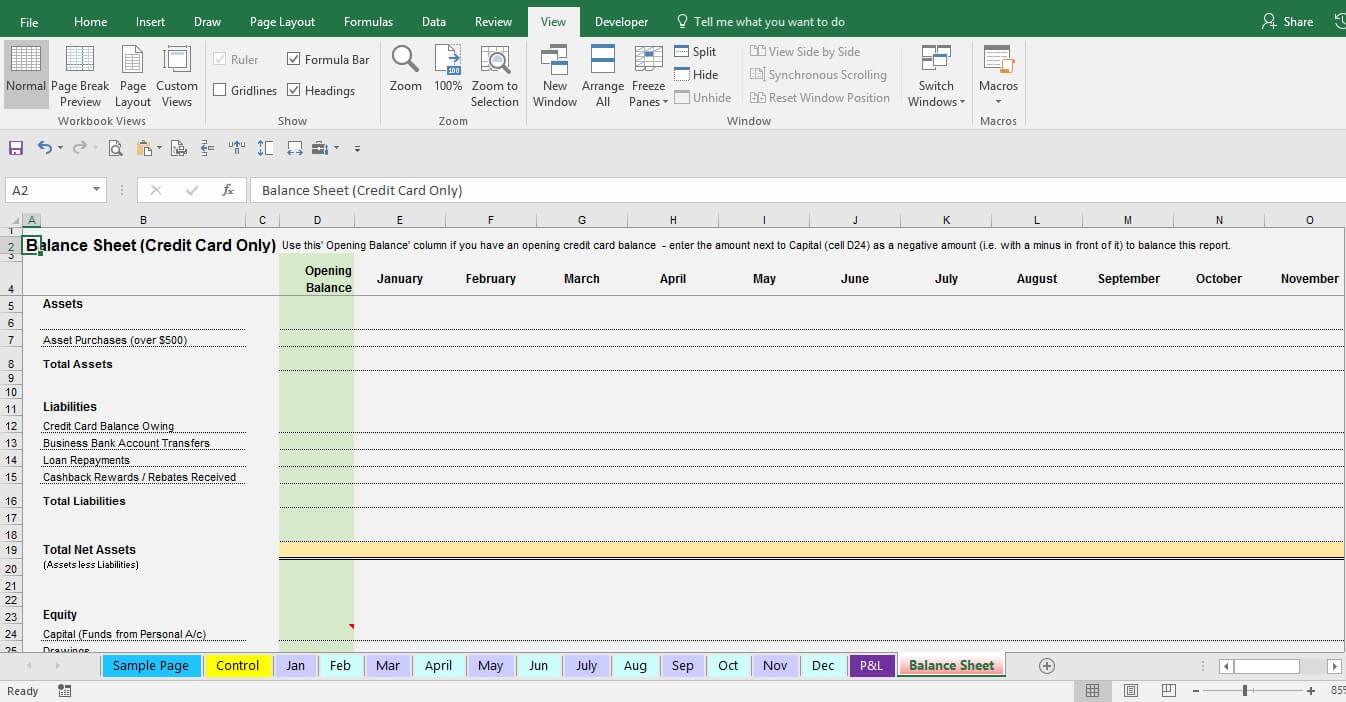 expense form template balance sheet