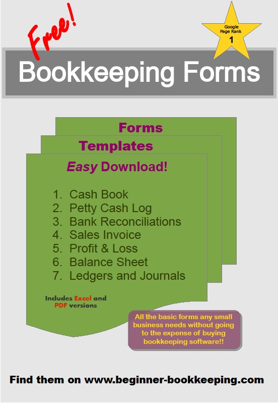 Bookkeeping Forms and Bookkeeping Templates – Accounting Ledgers Templates