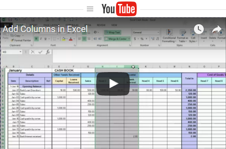 Free excel bookkeeping templates free excel tutorial videos and bookkeeping tutorials wajeb Choice Image