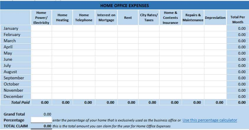 Home Office Tax Expenses Excel Template