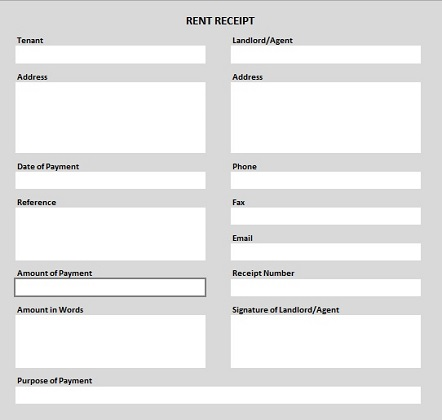 Rent Receipt Template PDF Shaded  Format For House Rent Receipt