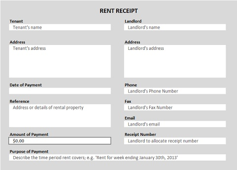 Rent Receipt Excel Template  Free Template For Receipt Of Payment