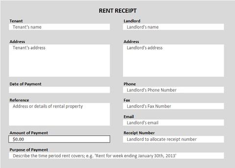 Rent Receipt Excel Template