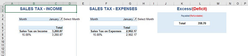 Accounting Excel Template Sales Tax Report