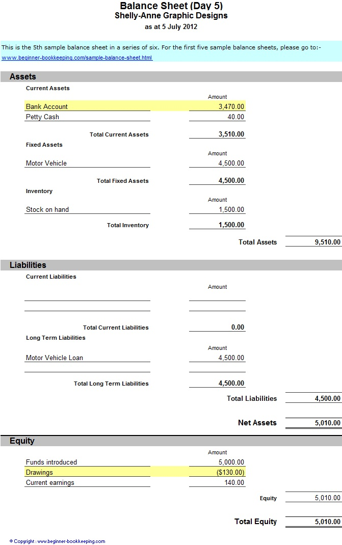 Beginner Bookkeeping  Free Balance Sheet Template