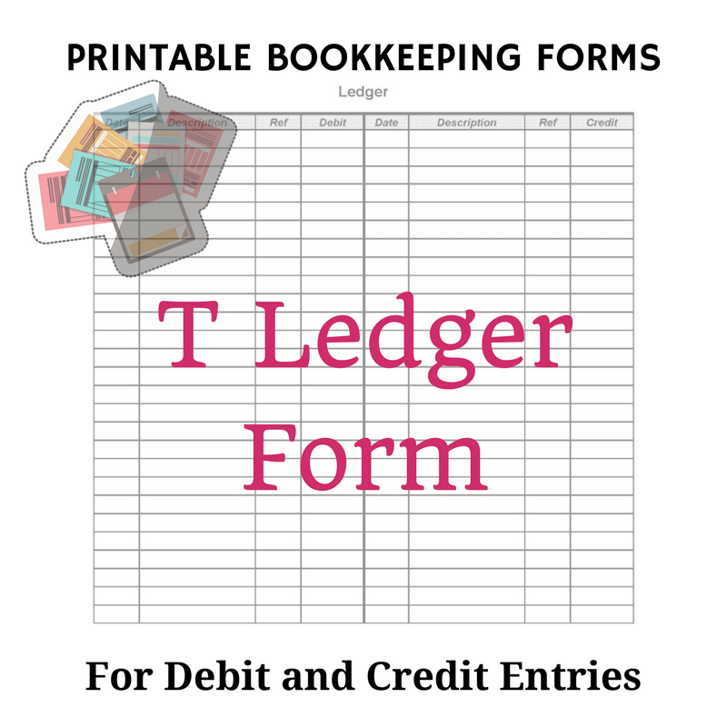 Beginner Bookkeeping  Printable Ledger Pages