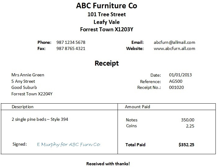 Word Receipt Template  Download Invoice Template Free