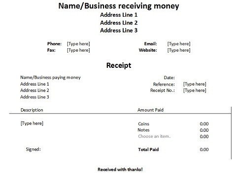 Free Receipt Forms – Format for Receipt