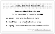 Account Equation Memory Sheet Business Card Size