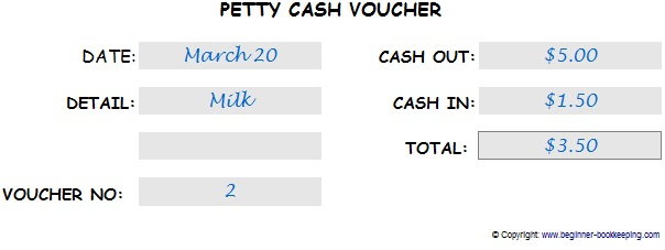Petty Cash Voucher - Cash Out