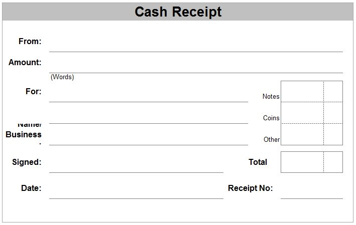 receipt template free printable - Free Cash Receipt Template