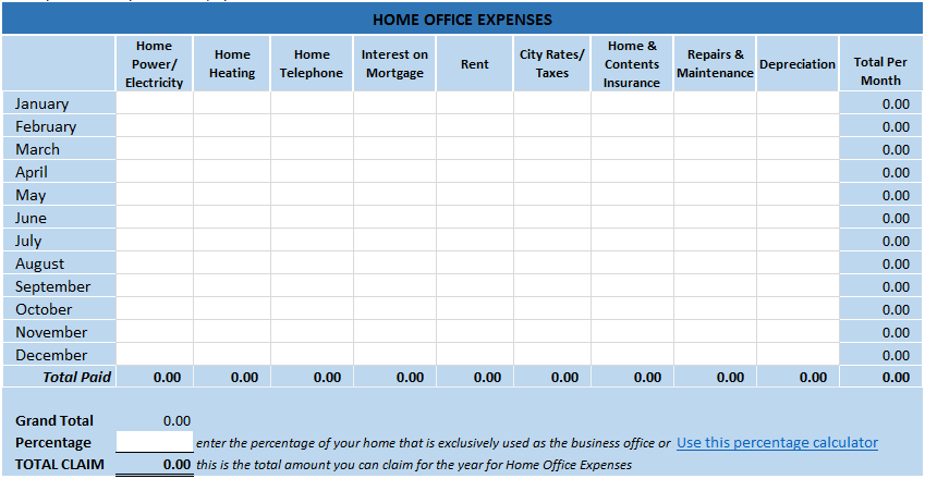 Home Office Tax Expenses Spreadsheet in Excel