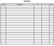 Bookkeeping Journal Sheet