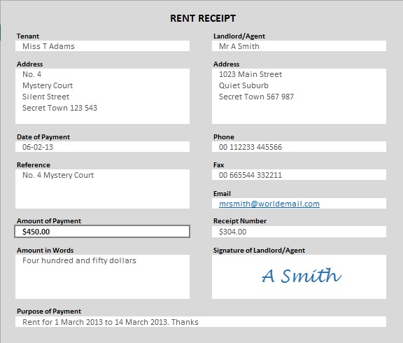 Rent Receipt Template  Download Rent Receipt Format
