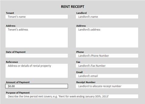 Rent Receipt Template Download Rent Receipt Template for Excel10 – Rent Receipt Format Free Download