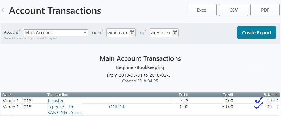 Wave Accounting - Account Transactions Ledger Example